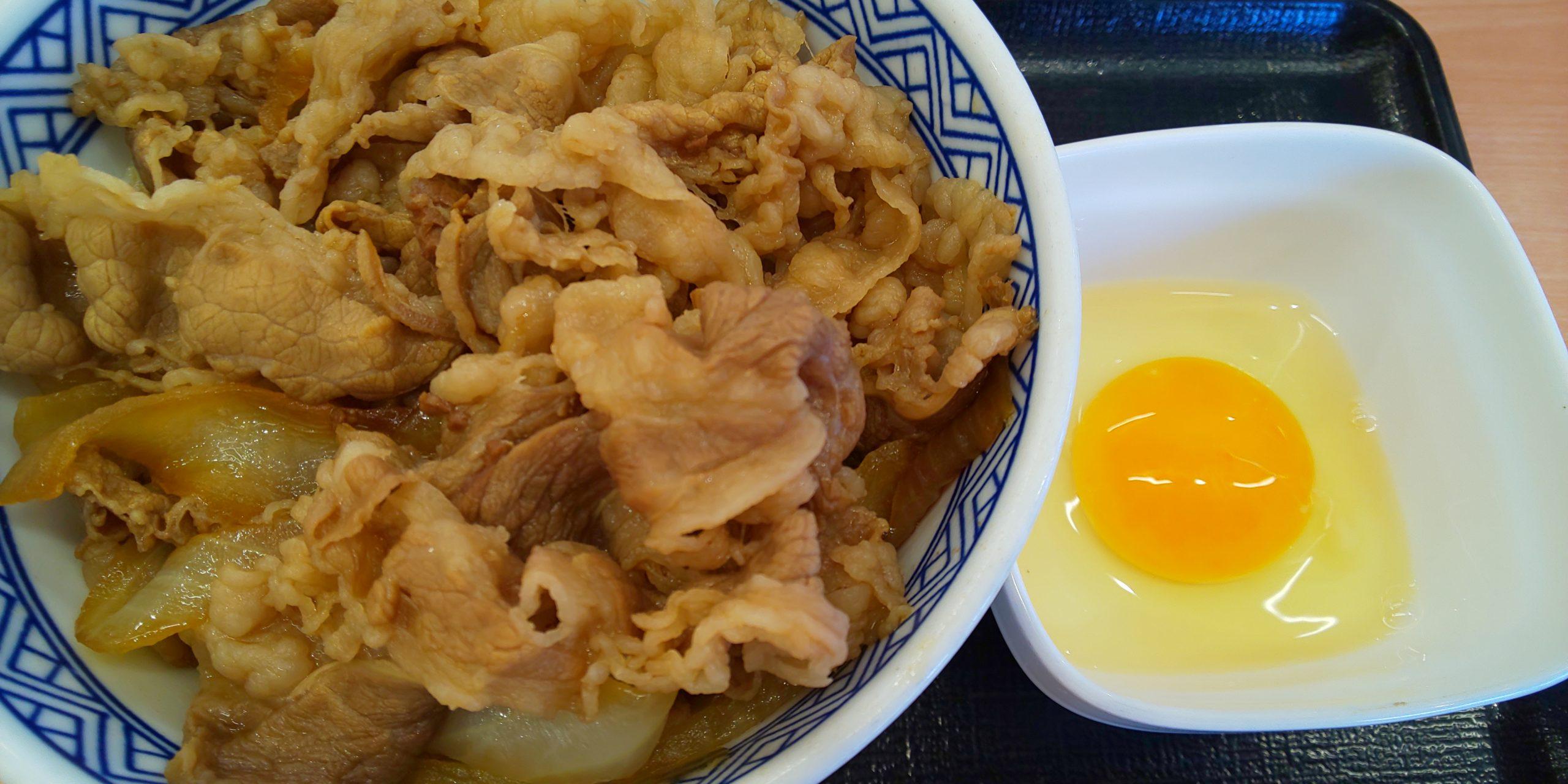 牛丼と生卵